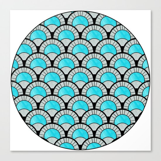 Aqua Art Deco Twenties Fan Pattern Canvas Print
