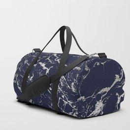 Modern navy blue silver marble pattern Duffle Bag
