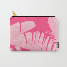Chill Pink Tropical Banana Leaves Design Carry-All Pouch