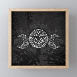 White Pentagram with Leaves Framed Mini Art Print