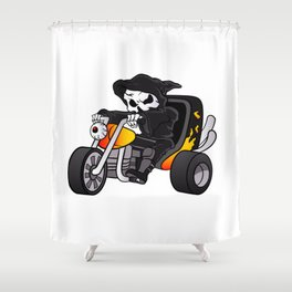 skull ride a big tricycle Shower Curtain