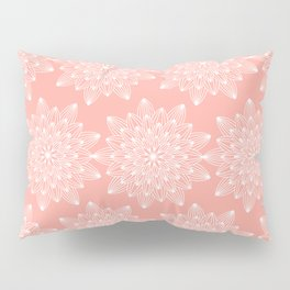 Pastel coral white hand drawn mandala flowers pattern Pillow Sham