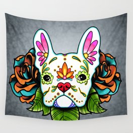 French Bulldog in White - Day of the Dead Sugar Skull Dog Wall Tapestry