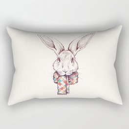Bunny and scarf Rectangular Pillow