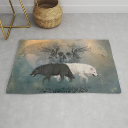 Awesome black and white wolf with skull Rug