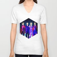 suits V-neck T-shirts featuring The Doctors: Galaxy Suits by Paris Noonan