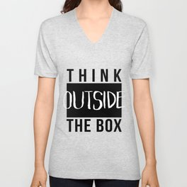 Think outside the box Black & white minimalist typography Unisex V-Neck