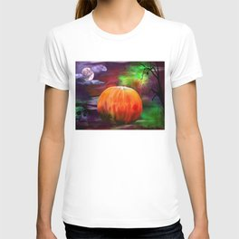 Spiders Skulls And Pumpkins By Annie Zeno T-shirt