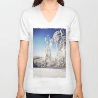 ski V-neck T-shirts featuring Ski  by David Nadeau