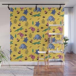 Cute Wild Animals Pattern Wall Mural