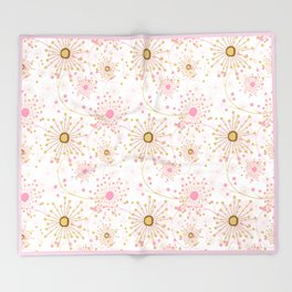 Retro . Abstract pattern Dandelions . Throw Blanket