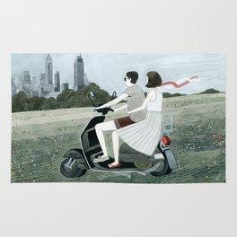 Couple On Scooter Rug