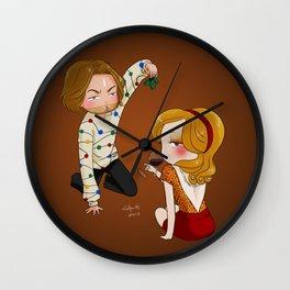 mistletoe and wine Wall Clock