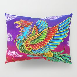 Colorful Fenghuang Chinese Phoenix Rainbow Bird Pillow Sham