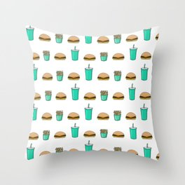 burger with fries and a drink pattern Throw Pillow