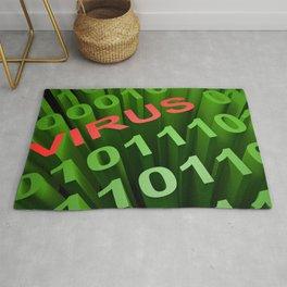 VIRUS in the binary code - 3D rendering Rug