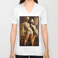silent hill V-neck T-shirts featuring Deadly Duo Silent Hill Nurses by Joe Misrasi