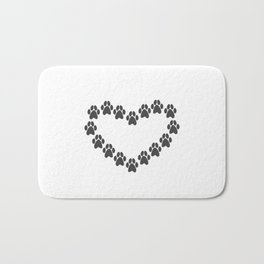 Paw Prints Heart Bath Mat