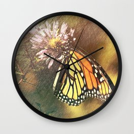 Butterfly on Milkweed Wall Clock