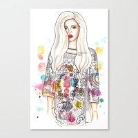 selena Canvas Prints featuring selena illustration by sparklysky