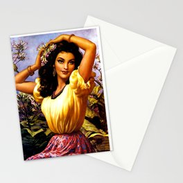 Mexican Beauty with Purple Flower by Jesus Helguera Stationery Cards