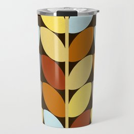 Retro 70s Color Palette Leaf Pattern Travel Mug