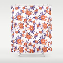 University Football Fan Alumni Clemson Orange And Purple Floral Flowers  Gifts Shower Curtain