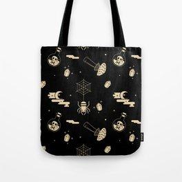 Halloween pattern in black bg Tote Bag