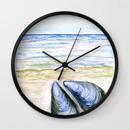 Blue mussel Wall Clock