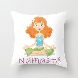 Smiling Girl practising Yoga Lotus Pose Throw Pillow