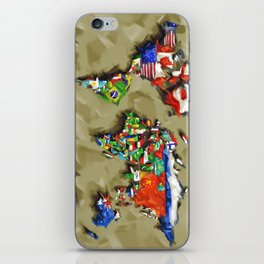 world map with flags vintage 2 iPhone Skin
