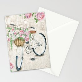 White bike & roses Stationery Cards