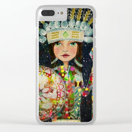 Mixed Media Warrior Princess Clear iPhone Case
