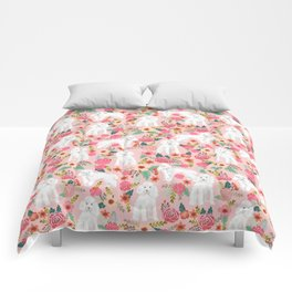 Toy Poodle pattern print by pet friendly pink florals dog with flower pattern cute toy poodles Comforters