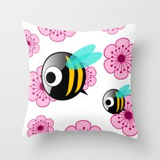 The first Bee Buzz of Spring Throw Pillow