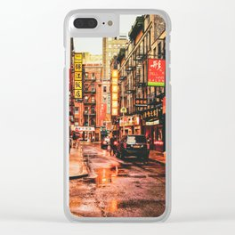 New York City Rain in Chinatown Clear iPhone Case