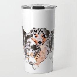 4 little Aussie Puppies Travel Mug
