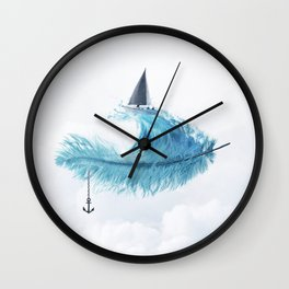 Water Feather • Blue Feather (horizontal) Wall Clock