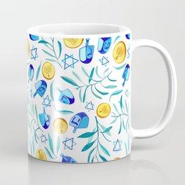 Hanukkah Dreidels Jewish Holiday Watercolor Pattern  Coffee Mug