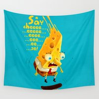 cheese Wall Tapestries featuring Say cheese by Lime