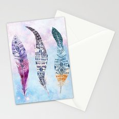 Bohemian galaxy feathers Stationery Cards