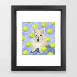 Miss Caroline the Cairn Terrier is Obsessed About Fetching Tennis Balls Framed Art Print
