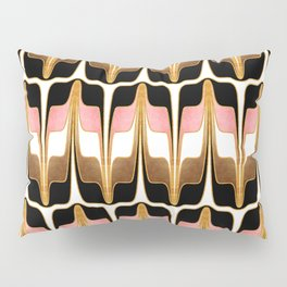 Mid Century Modern Liquid Watercolor Abstract // Gold, Blush Pink, Brown, Black, White Pillow Sham