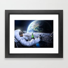 Astronaut on the Moon with beer Framed Art Print