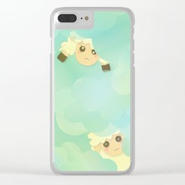 Heavenly Baby Sheep I - Mint Green, Baby Blue Colors Sky Background Clear iPhone Case
