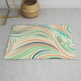 Multicolor abstract wavy lines pattern Rug
