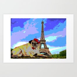 A Pug in Paris Art Print