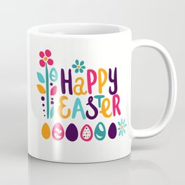 Happy Easter. Hand-painted lettering. Spring flowers, hearts. Eggs. Coffee Mug
