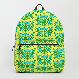 Pixel Floral Pattern - The Crimson Diamond Room Wallpaper Backpack