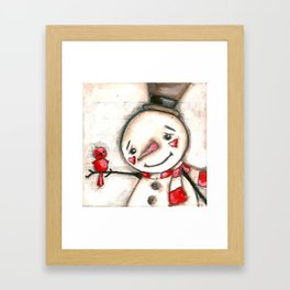 Red  Bird and Snowman - Christmas Holiday Art Framed Art Print